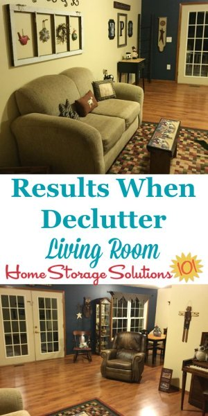 Results when you declutter your living room or family room, which is a livable space that you can relax in without all the clutter {on Home Storage Solutions 101}