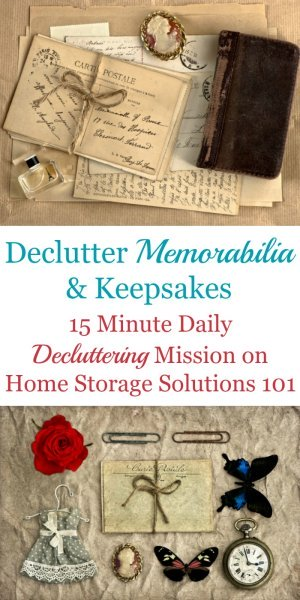 How to declutter memorabilia and keepsakes, including how to deal with the emotions of sentimental clutter and strategies to use when getting rid of some of these items {on Home Storage Solutions 101} #Declutter #SentimentalClutter #Decluttering