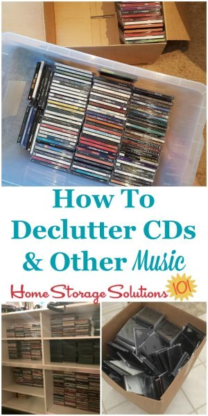 How to #declutter CDs and other music, including discussion of digitizing music as well as tips for what to do with the discs, cassettes and records that you decide to get rid of {on Home Storage Solutions 101} #ClutterFreeHome #decluttering