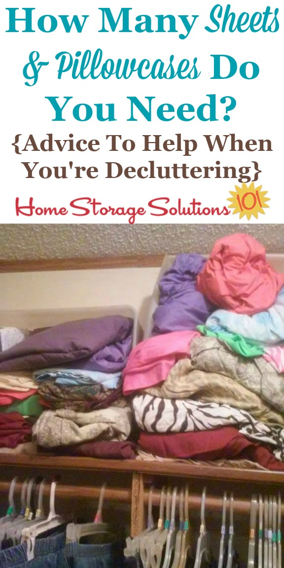 General guidelines for how many sheets and pillowcases to keep in your home, which is helpful when either setting up your home or when decluttering, to decide how many sheet sets to keep {on Home Storage Solutions 101}
