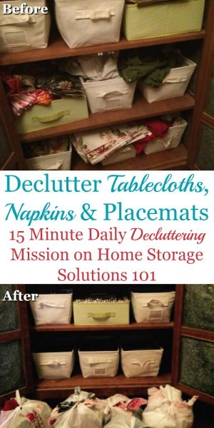 How to declutter table linens, such as tablecloths, napkins, and placemats from your home, including guidance for how many table linens to keep {on Home Storage Solutions 101}