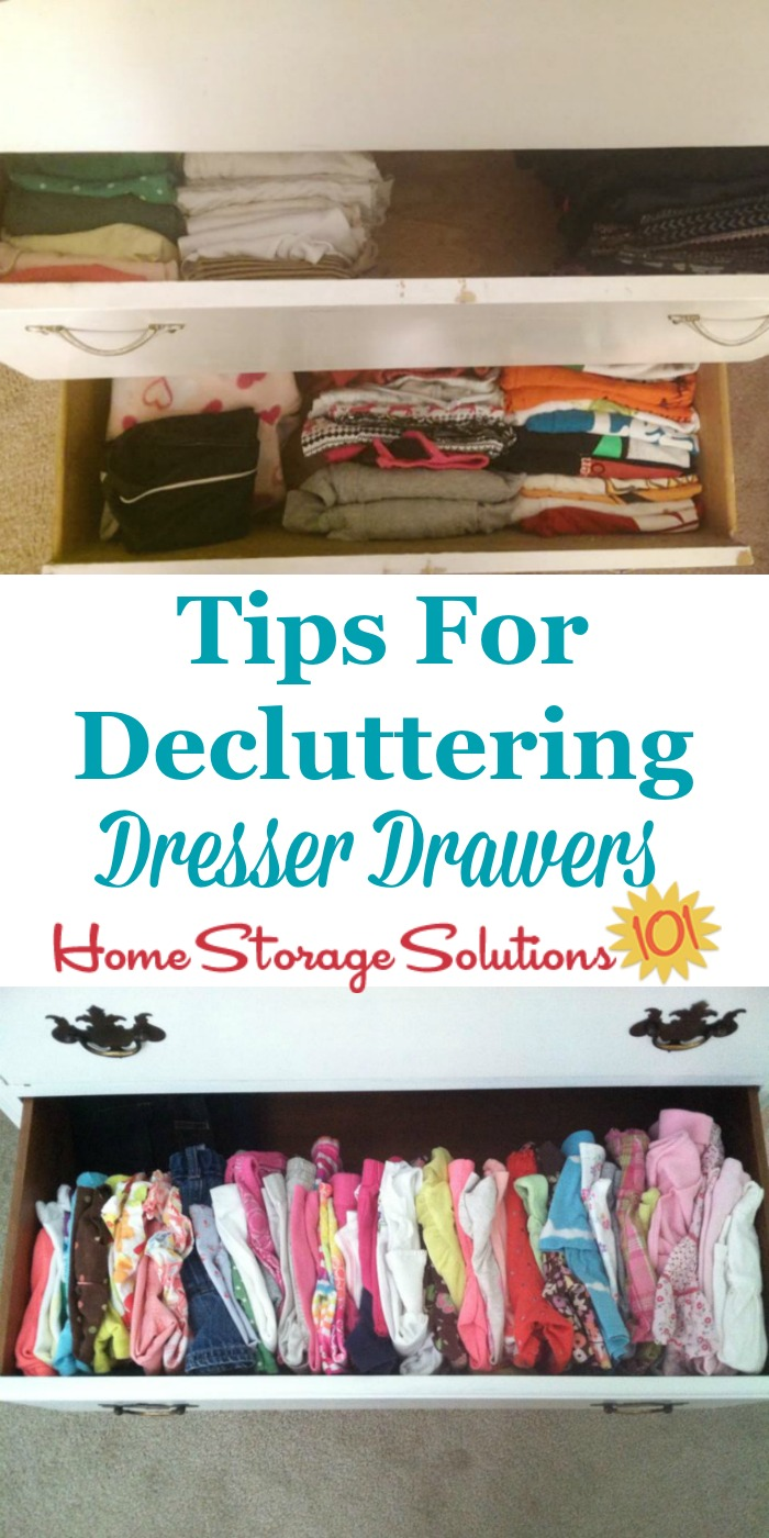 Tips for decluttering dresser drawers for both adults and kids, to keep them easy to open and close, and well organized {on Home Storage Solutions 101}
