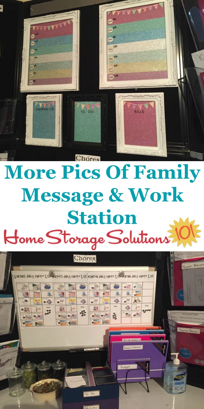 Detailed look at family message and workstation, used as a command center for kids chores, to do lists, menu planning and more {featured on Home Storage Solutions 101}