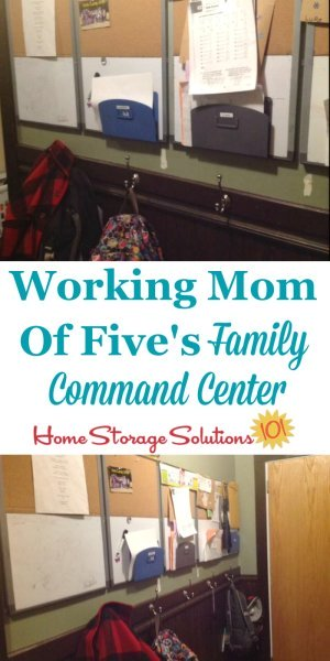 Family command center used by a working mom of 5 to keep up with her kids school papers, sports schedules and other school stuff {featured on Home Storage Solutions 101}