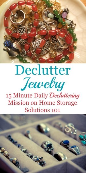 How to get rid of jewelry clutter, including questions to ask yourself and things to consider, tips for getting rid of sentimental jewelry, and lots of before and after photos from readers who've done this mission to get you inspired {on Home Storage Solutions 101}