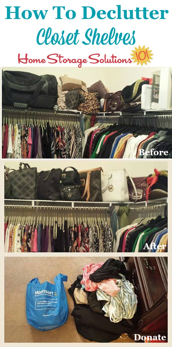 How to declutter closet shelves, including before and after photos from readers who've done this Declutter 365 mission on Home Storage Solutions 101