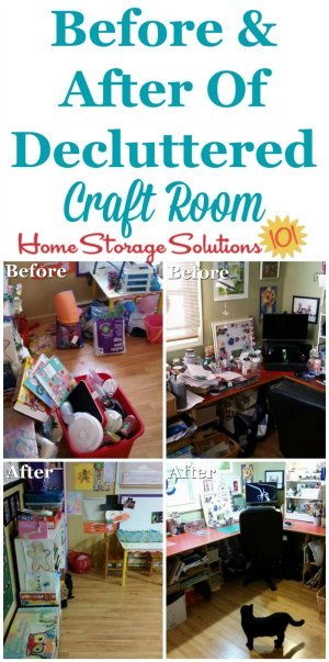 Before and after photos of decluttered craft room, plus instructions for how to #declutter this space without the process becoming overwhelming {on Home Storage Solutions 101} #CraftRoomOrganization #Declutter365