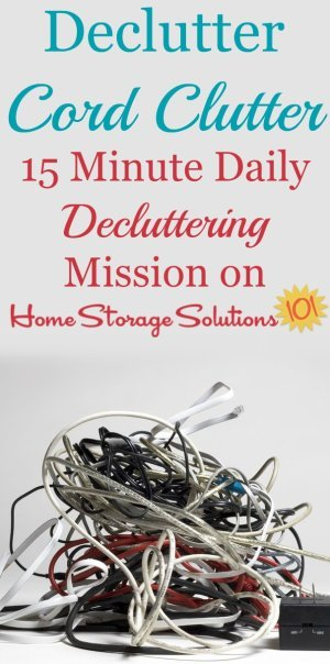 How to declutter and get rid of cable and cord clutter in your home, so you're just left with the cords you use and need {a #Declutter365 mission on Home Storage Solutions 101} #CordClutter #DeclutterCords