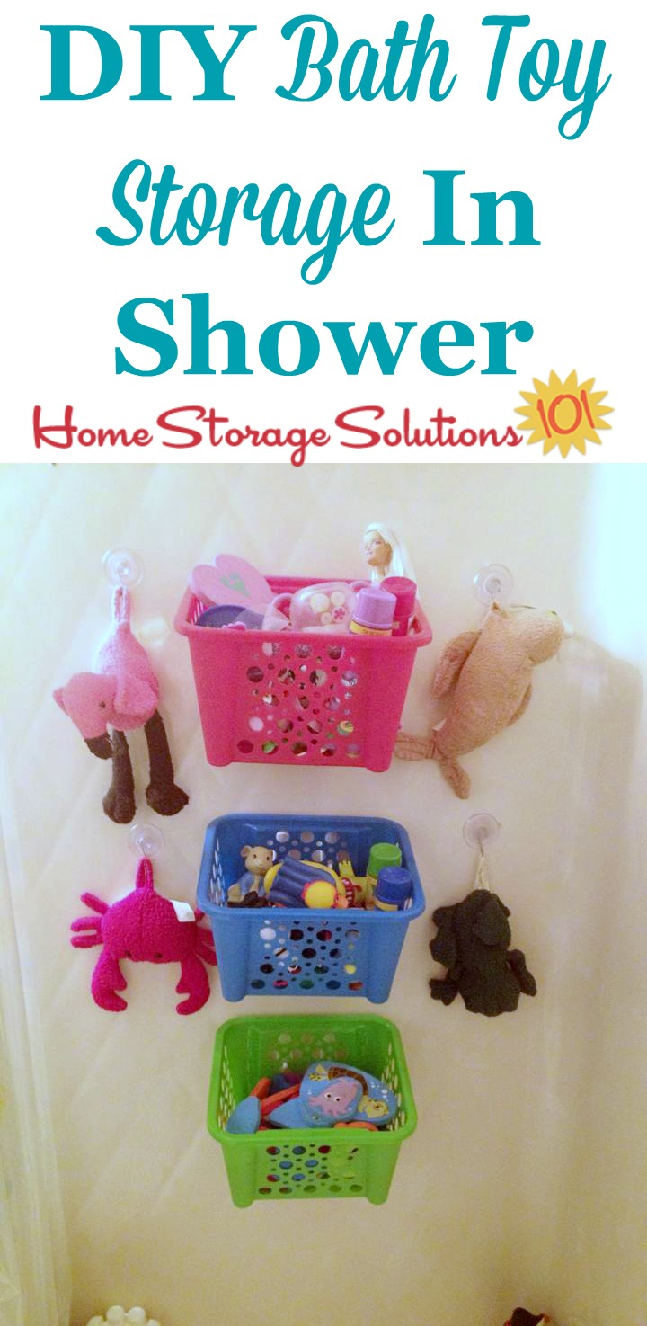 DIY bath toy storage idea for your shower or bathtub, using dollar storage baskets and command hooks {on Home Storage Solutions 101}