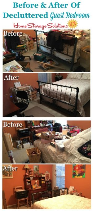 Before and after of decluttered guest room, that was both used for guests as well as for crafting {on Home Storage Solutions 101}