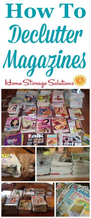 How to #declutter magazines, including signs you've got too many, and lots of photos from readers who've already taken on this mission to inspire you {on Home Storage Solutions 101} #DeclutterMagazines #MagazineClutter