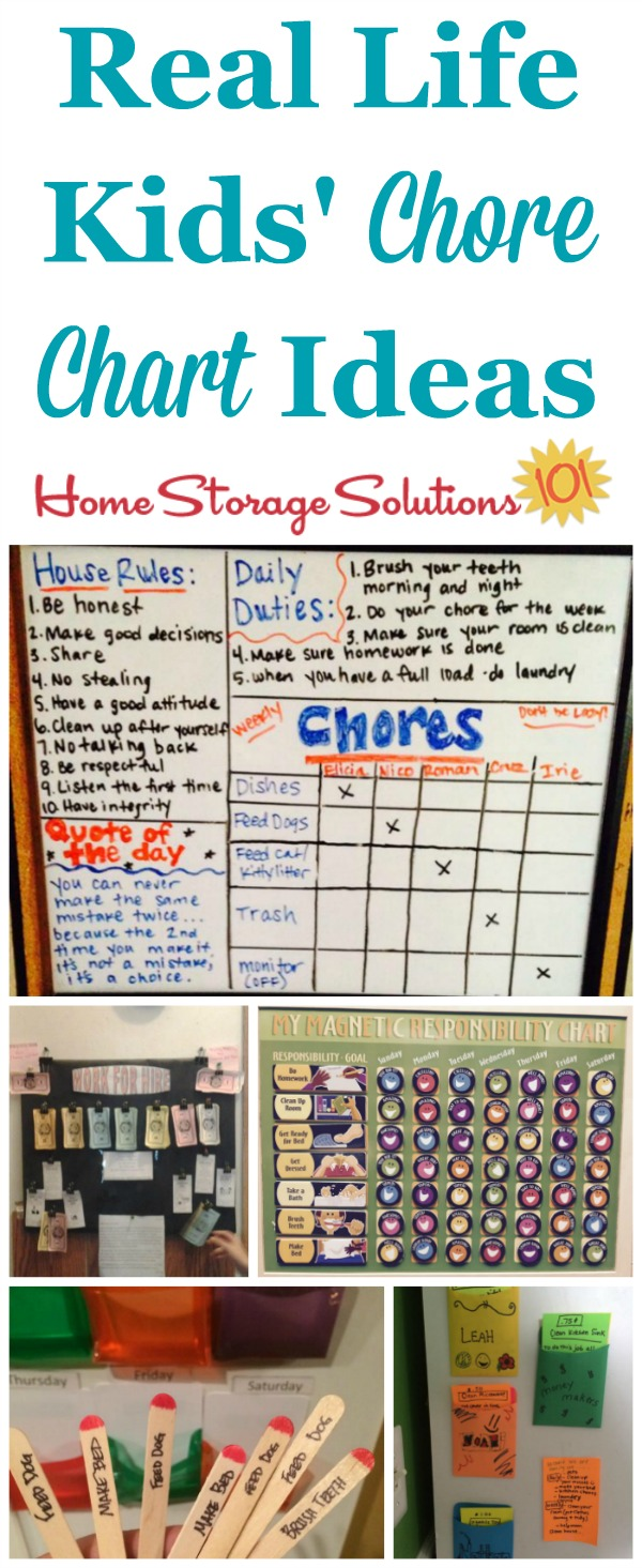 Lots of real life examples of kids' chore charts to get children involved in household tasks {featured on Home Storage Solutions 101} #ChoreCharts #KidsChores #ChoreChart