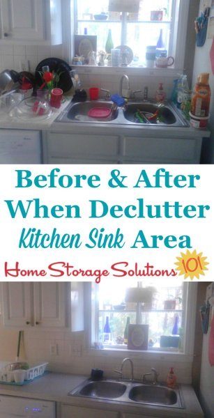 How to #declutter your kitchen sink area, including lots of before and after photos to get you inspired and ready to tackle your own sink area today! {on Home Storage Solutions 101} #Declutter365 #Decluttering