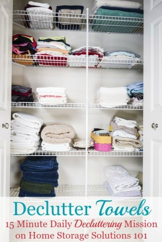 How to declutter towels and washcloths in your bathroom or linen closet, including guidelines for how many towels you should keep for each family member, plus ideas for what to do with the towels you declutter {on Home Storage Solutions 101} #Declutter365 #DeclutterTowels #Decluttering
