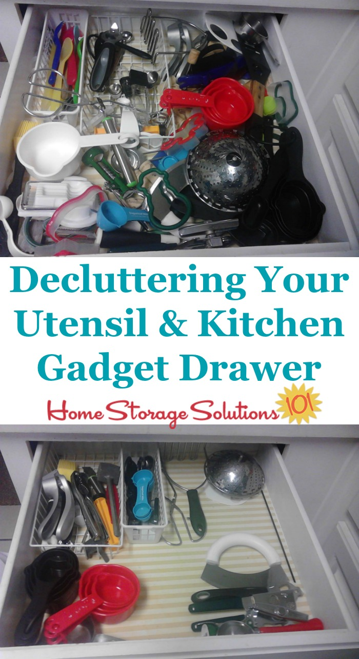 How to #declutter your utensil and kitchen gadget drawer {on Home Storage Solutions 101} #Declutter365 #KitchenOrganization