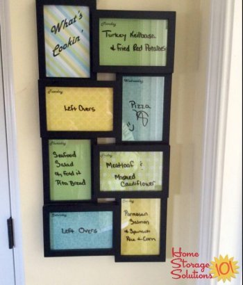 Display your week's menu using a multi-frame and scrapbook paper {featured on Home Storage Solutions 101}