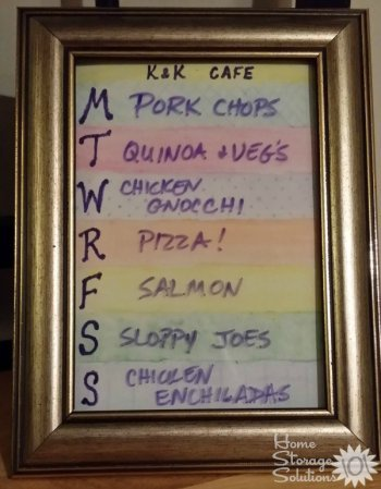 Framed menu board to display weekly meals {featured on Home Storage Solutions 101}