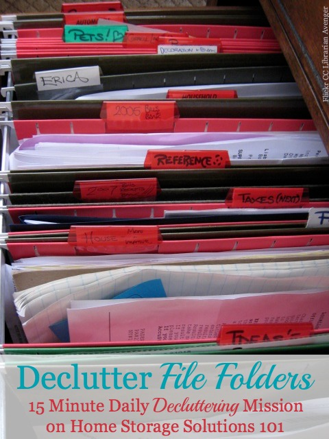 How to declutter file clutter 15 minutes a time, to clear out your file drawer or cabinet of old papers and make room for the stuff you really do need to file in there now {on Home Storage Solutions 101}