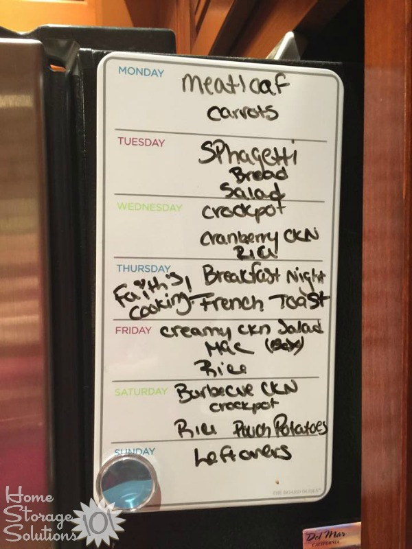 Use a white board designed for meal planning to easily figure out what your family will eat for the next week {featured on Home Storage Solutions 101}