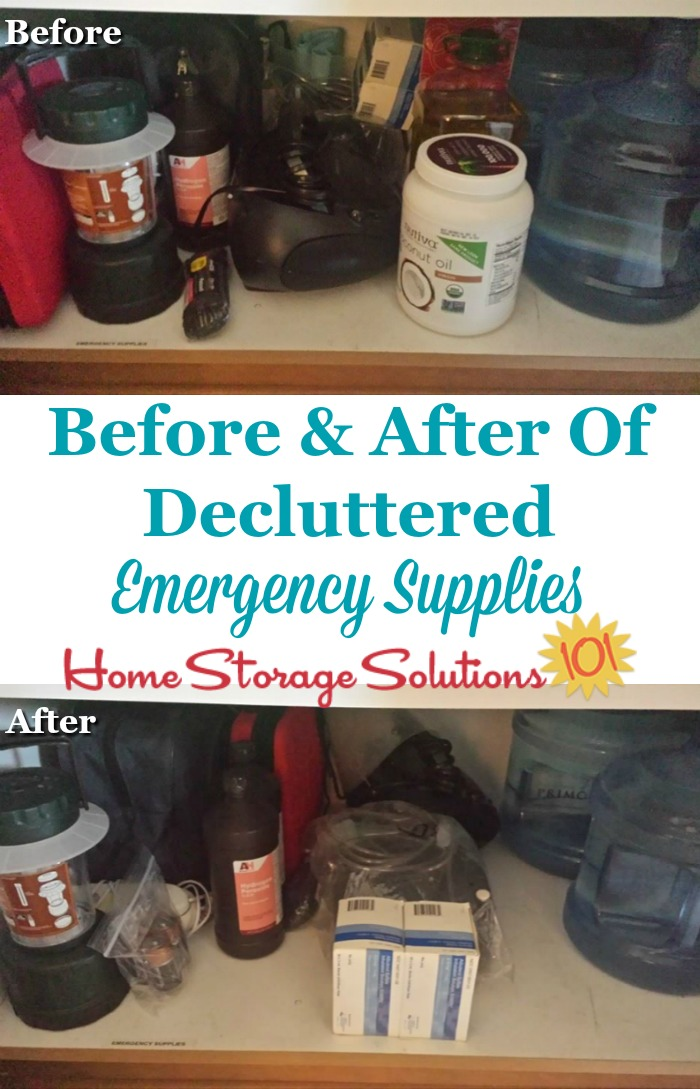Before and after photos from a reader, Seena, who replenished and decluttered her emergency supplies so everything would be fresh if needed {part of the #Declutter365 missions on Home Storage Solutions 101} #EmergencyPreparedness #EmergencyPrep
