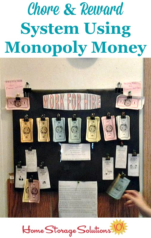 Chore chart and reward and allowance system using Monopoly money {featured on Home Storage Solutions 101}