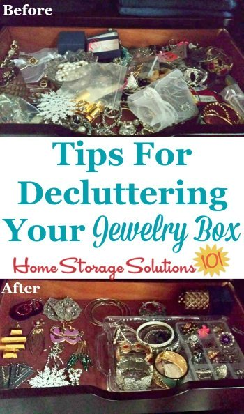 Tips for decluttering your jewelry box, including questions to ask and tips for dealing with sentimental clutter {on Home Storage Solutions 101}