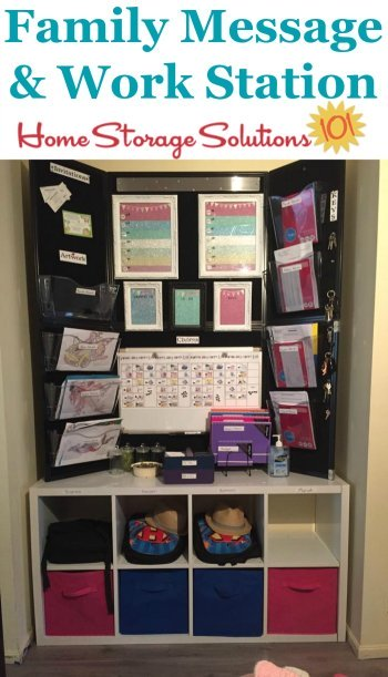 Family message and workstation, used as a command center for chores, to do lists, paperwork and school stuff {featured on Home Storage Solutions 101}