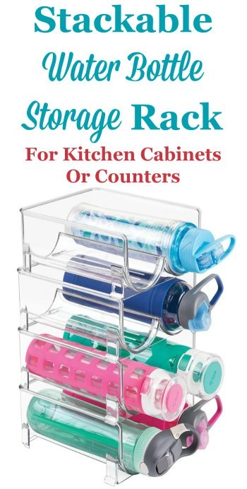 When you open your cabinet do water bottles fall or roll out? These bottles can be hard to store, but you can use this stackable water bottle storage rack on a counter, or inside a cabinet or on a pantry shelf, to keep these bottles easy to grab and ready for use {featured on Home Storage Solutions 101} #KitchenOrganization #KitchenStorage #StorageSolutions
