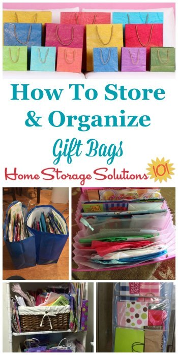 How to store and organize gift bags in your home, with lots of DIY methods and products you can use, as shown by real life pictures from readers {on Home Storage Solutions 101} #GiftBags #OrganizingTips #OrganizedHome