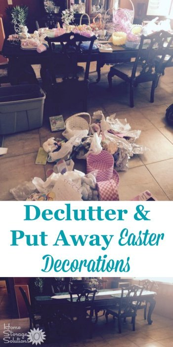 Before and after when a #Declutter365 participant, Tina, decluttered and put away Easter decorations around her home after the holiday {featured on Home Storage Solutions 101}