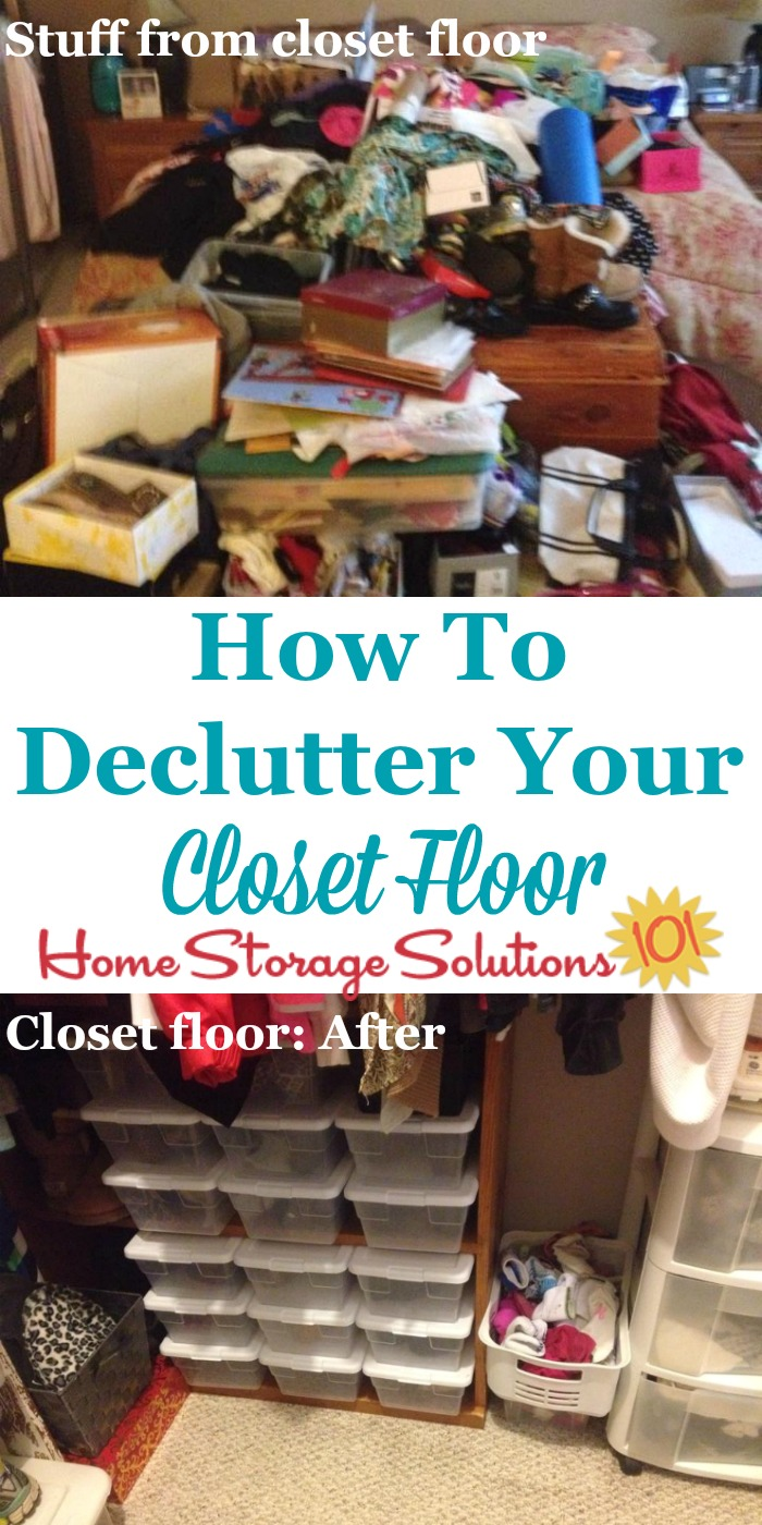 How to declutter your closet floor, including tips and ideas as well as before and after photos from readers who've done the Declutter 365 mission {on Home Storage Solutions 101}