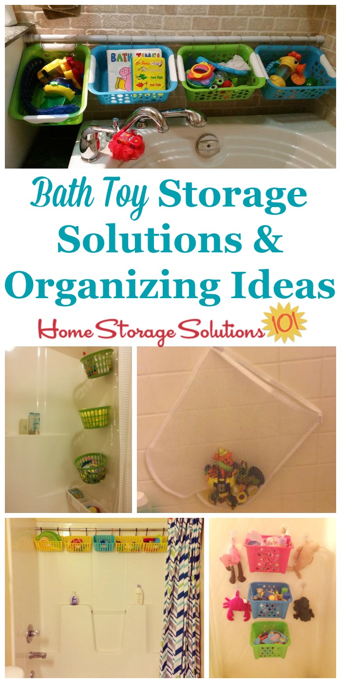 Lots of bath toy storage solutions and organizing ideas, including DIY methods, that really work in real life, and provide proper drainage {on Home Storage Solutions 101} #BathToyStorage #BathToyOrganization #BathroomStorage