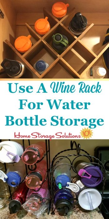 Use a wine rack for water bottle storage in your kitchen, either inside a cabinet, on a shelf, or even on a kitchen counter {featured on Home Storage Solutions 101} #KitchenStorage #KitchenOrganization #StorageSolutions