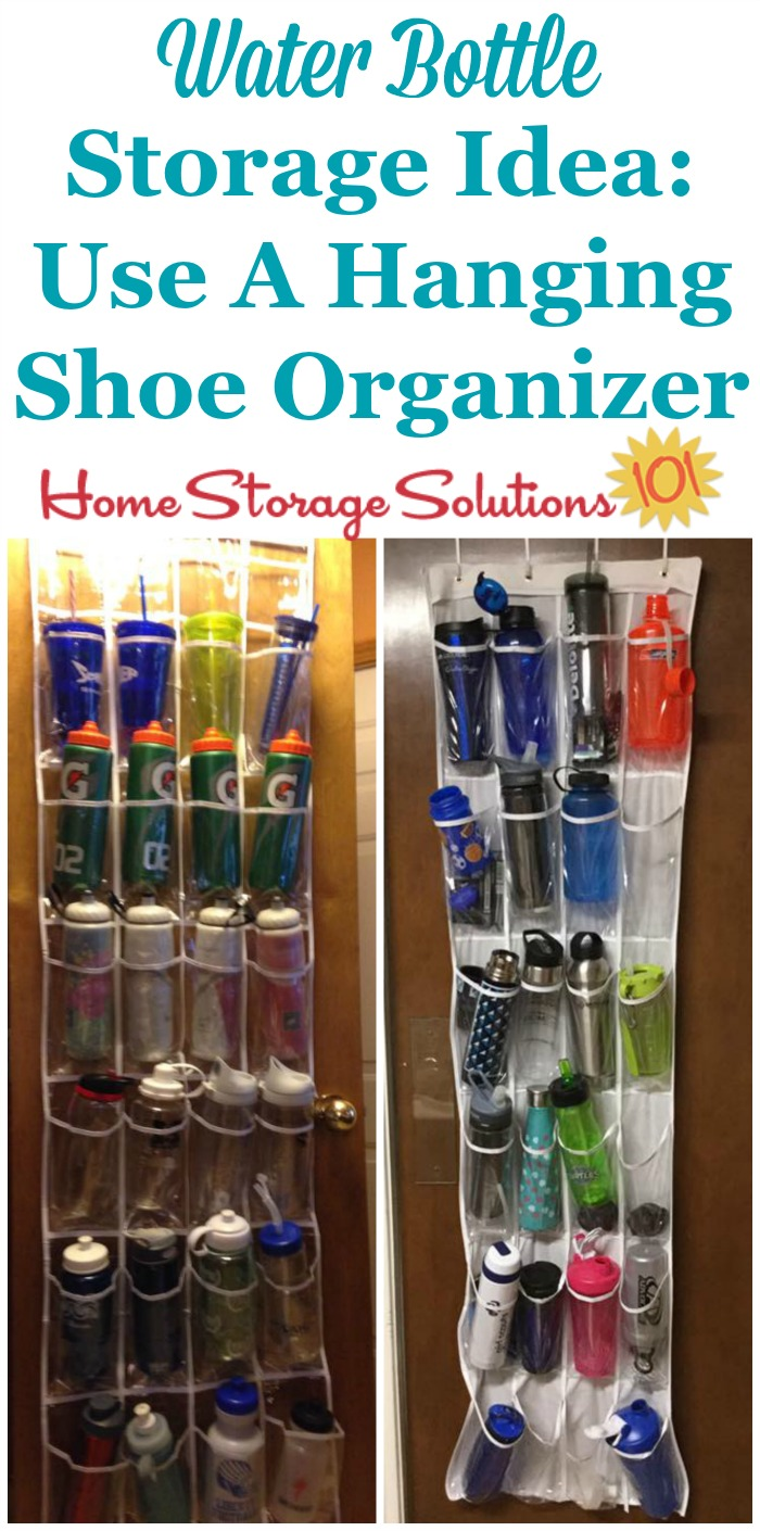 Water bottle storage idea: Organize and store these bottles in a hanging shoe organizer, such as on the pantry door {featured on Home Storage Solutions 101} #KitchenStorage #StorageSolutions #KitchenOrganization