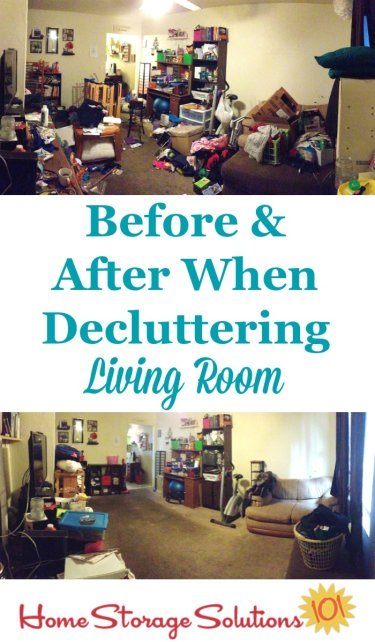 Before and after when decluttering living room {on Home Storage Solutions 101}