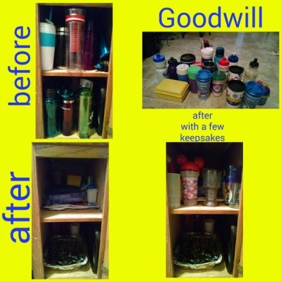 Before and after when Stephanie did the declutter water bottles and plastic cups mission as part of the #Declutter365 missions on Home Storage Solutions 101