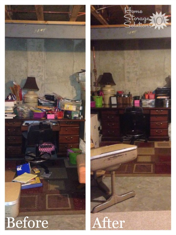 Before and after when declutter basement desk area {featured on Home Storage Solutions 101}