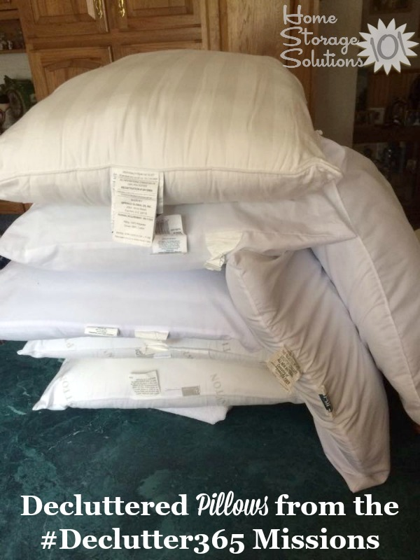 Stack of pillows to be decluttered as part of the #Declutter365 missions on Home Storage Solutions 101