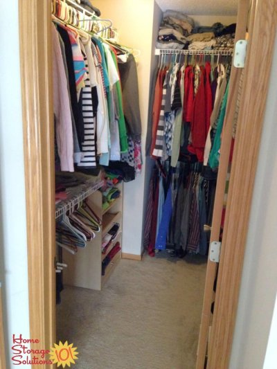 Declutter your closet to make it instantly feel more organized and spacious {featured on Home Storage Solutions 101}