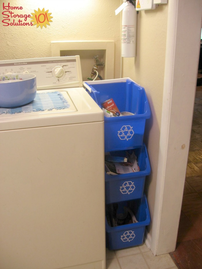 Stacked recycling bins for sorting recyclables in a narrow space, such as here in the laundry room {featured on Home Storage Solutions 101}