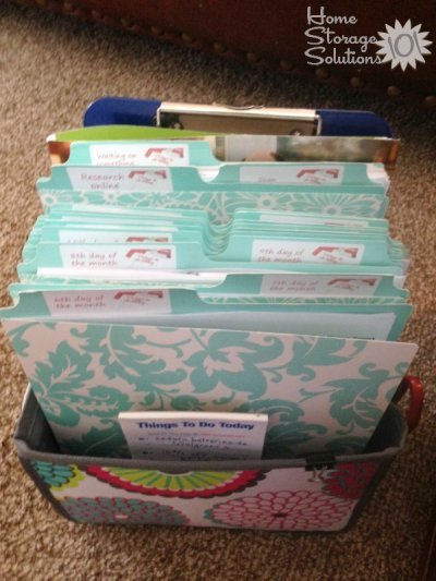 Tickler file system using the Thirty One Double Duty Caddy and Martha Stewart Vertical Folder Files {featured on Home Storage Solutions 101}