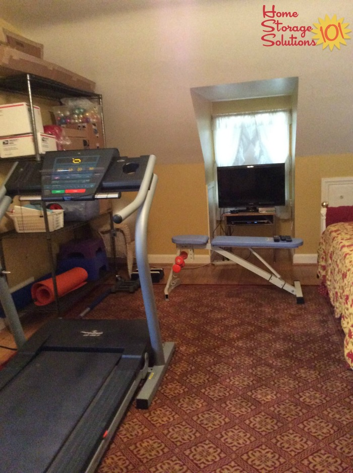 Decluttered spare bedroom, which cleared space for Janice to set up and now use her fitness equipmentfeatured on Home Storage Solutions 101