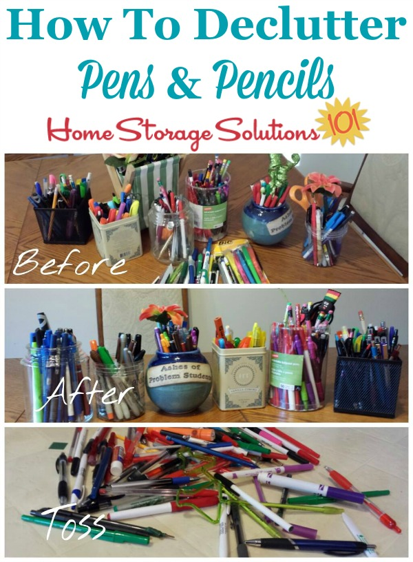 How to declutter pens and pencils around your home, with lots of pictures from readers who've already done this #Declutter365 mission {on Home Storage Solutions 101}