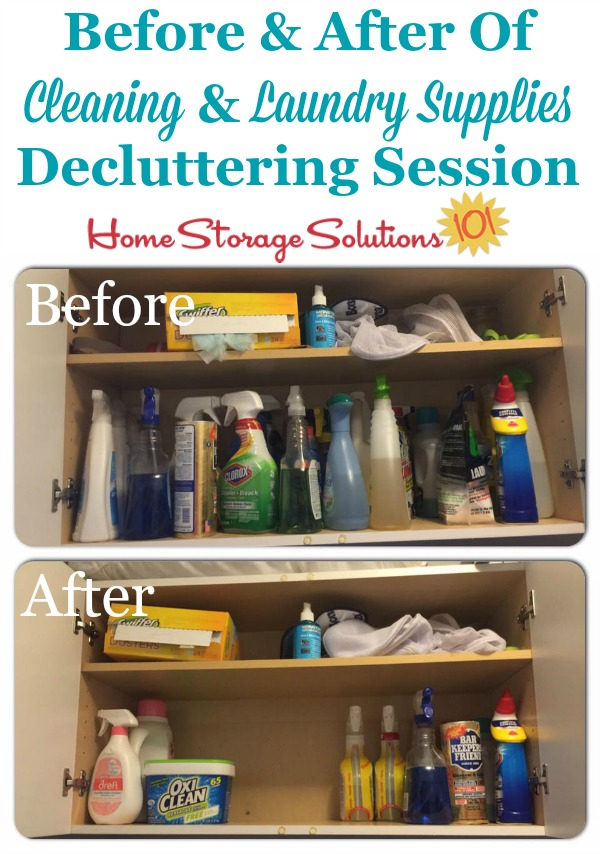 Before and after of laundry supplies and cleaning cabinet when a reader, Adrianne, did the #Declutter365 mission to get rid of laundry supplies clutter {on Home Storage Solutions 101}