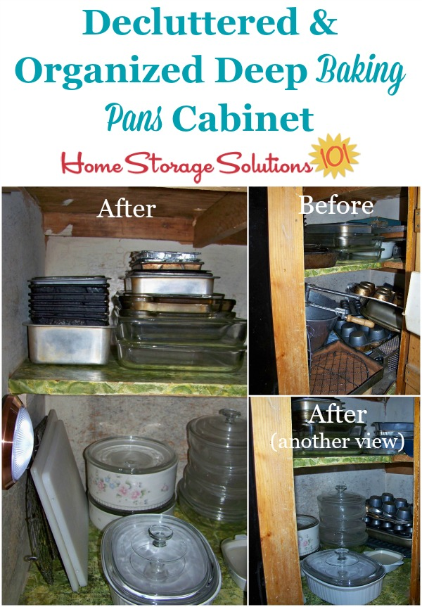 Before and after of a decluttering and organizing project in a deep kitchen cabinet holding baking pans, shown by a reader, Teresa. She did this project as part of the #Declutter365 missions on Home Storage Solutions 101.