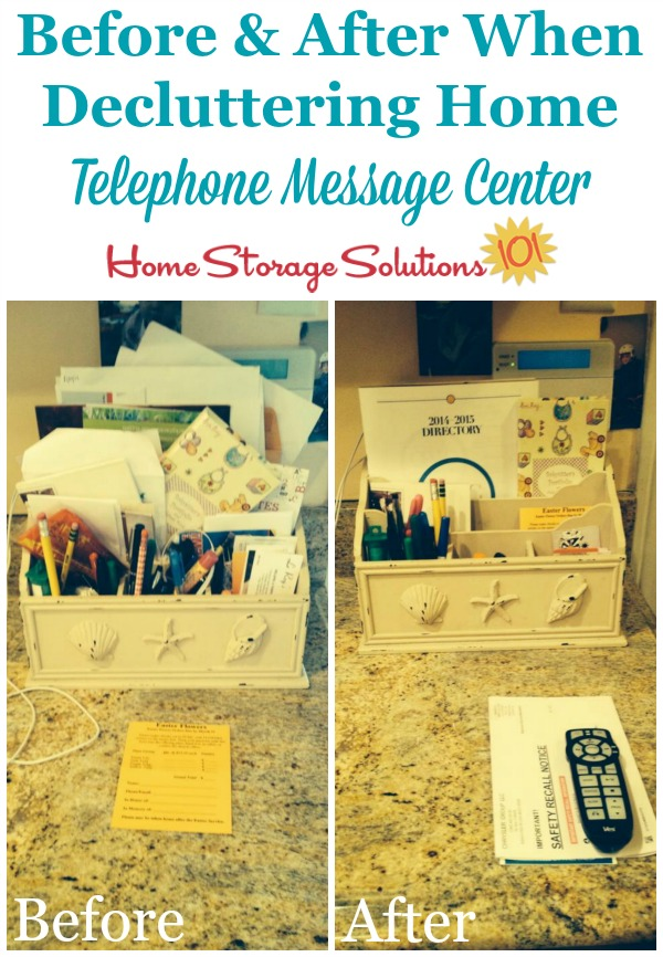 Before and after when decluttered telephone and home mail center in kitchen {featured on Home Storage Solutions 101}