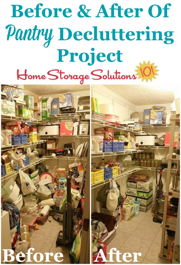 Before and after photos of a reader, Lisa's pantry, after doing the pantry decluttering missions as part of #Declutter365 on Home Storage Solutions 101
