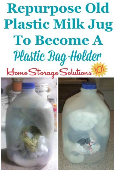 fc0cc89ae3c Upcycle and repurpose an old plastic milk jug to become a plastic bag holder  and dispenser ...