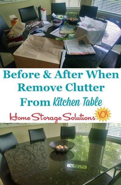 Before and after photos when clear off #clutter from your kitchen table {part of the #Declutter365 missions on Home Storage Solutions 101} #KitchenOrganization