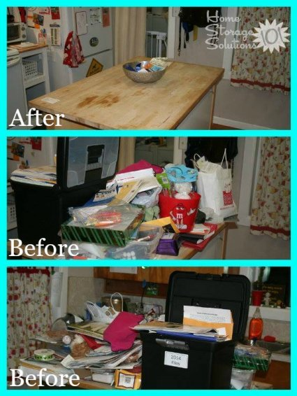 Before and after photos from Elizabeth who cleared her kitchen island and said it reduced so much stress to cook in a clutter free kitchen {featured on Home Storage Solutions 101}